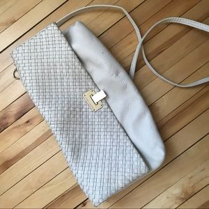 White leather Elliot Luca clutch bag